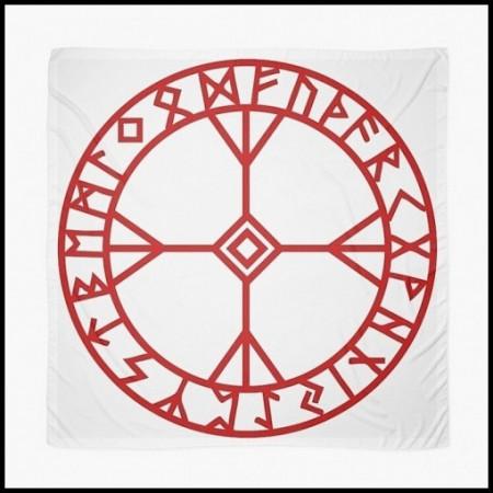 [X] Tenture Cercle Runique Rouge