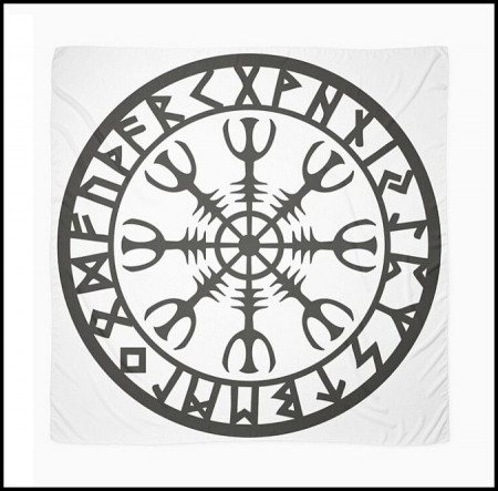 [X] Tenture Cercle Runique Noir
